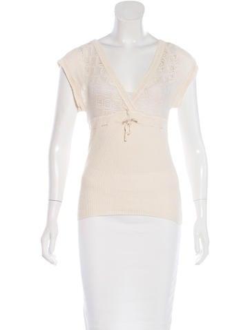 Diane von Furstenberg Open Knit Short Sleeve Top None
