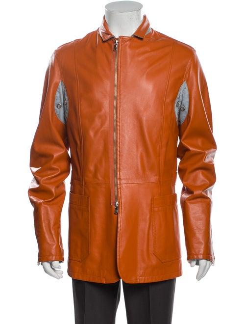 Donald J Pliner Leather Jacket Orange