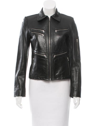 DKNY Fitted Leather Jacket None