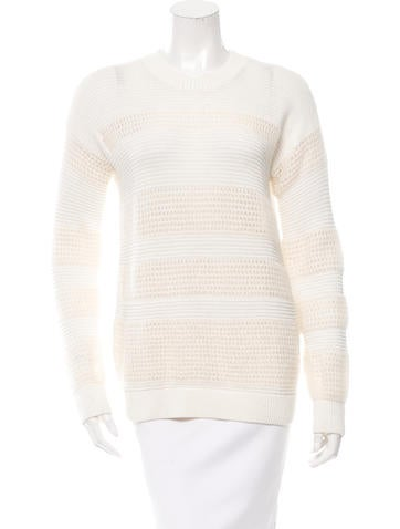 Derek Lam 10 Crosby Open Knit-Accented Crew Neck Sweater