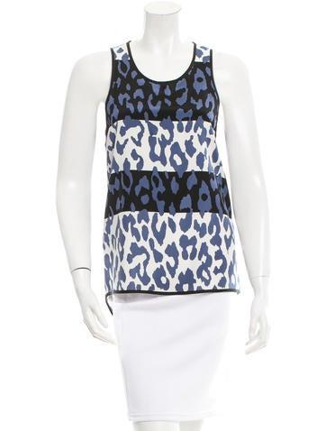 Derek Lam 10 Crosby Cheetah Print Silk Top None
