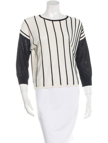 Derek Lam 10 Crosby Striped Rib Knit Sweater None