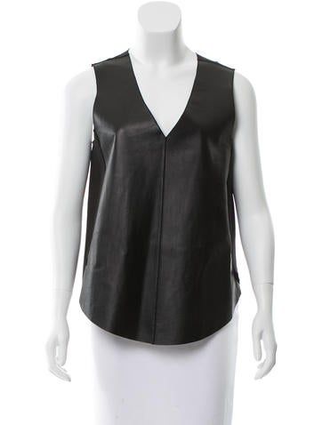 Derek Lam 10 Crosby Leather-Paneled Sleeveless Top w/ Tags None