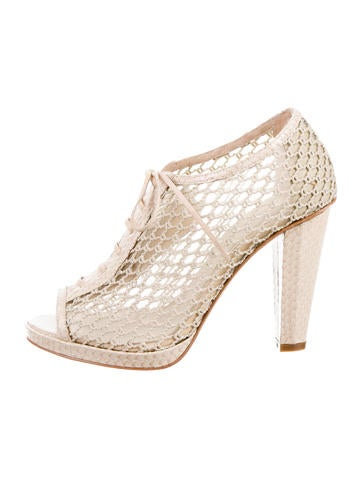 Derek Lam 10 Crosby Mesh Peep-Toe Booties None