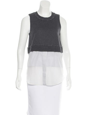 Derek Lam 10 Crosby Sleeveless Knit Top None