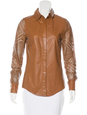 Derek Lam 10 Crosby Cutout-Accented Leather Top