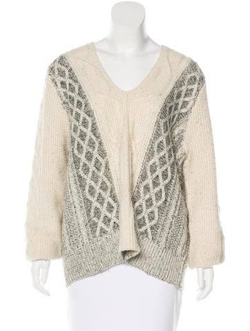 Derek Lam 10 Crosby V-Neck Cable Knit Sweater f None