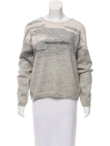 Derek Lam 10 Crosby Wool-Mohair Blend Intarsia Sweater None