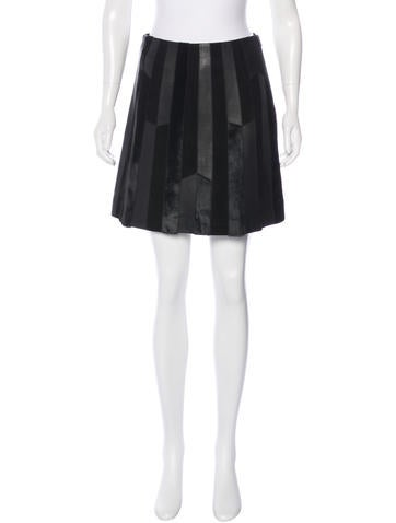 Derek Lam 10 Crosby Leather & Suede Skirt None