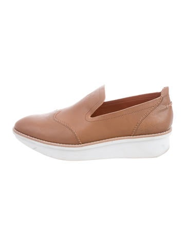 Derek Lam 10 Crosby Leather Wedge Loafers None