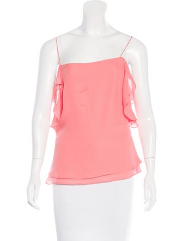 Derek Lam 10 Crosby Ruffle-Trimmed Silk Top w/ Tags None