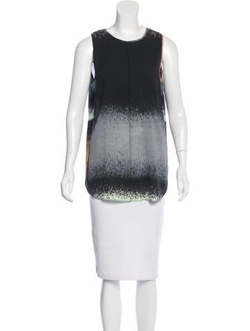 Derek Lam 10 Crosby Abstract Print Silk Top None