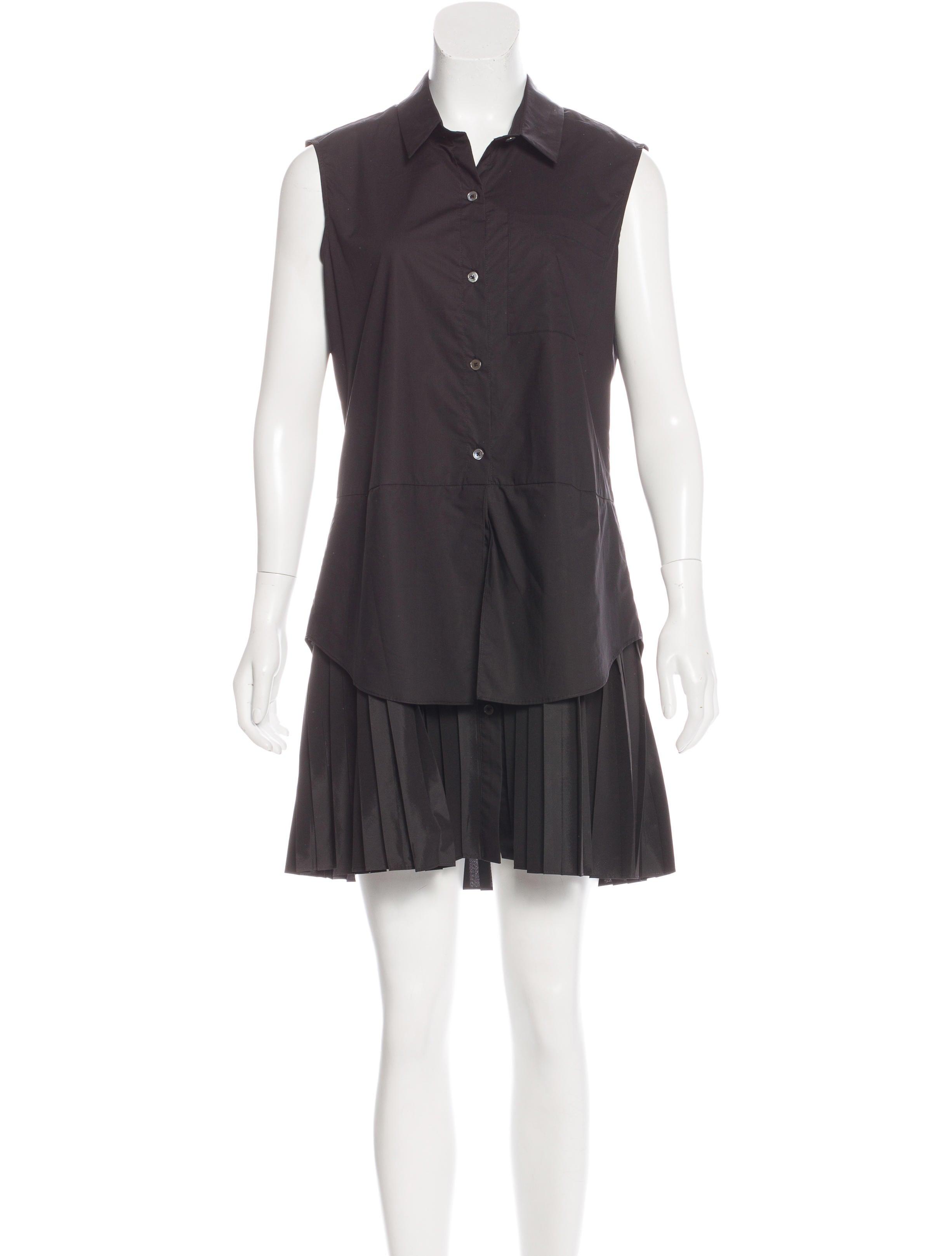 Derek lam 10 crosby pleated shirt dress w tags clothing for Black pleated dress shirt