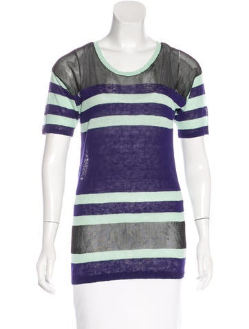 Derek Lam 10 Crosby Linen Striped Top None