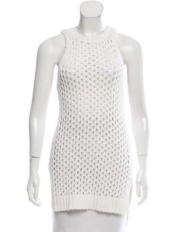 Derek Lam 10 Crosby Sleeveless Open Knit Sweater None