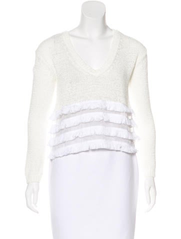 Derek Lam 10 Crosby Open Knit Fringed Sweater None
