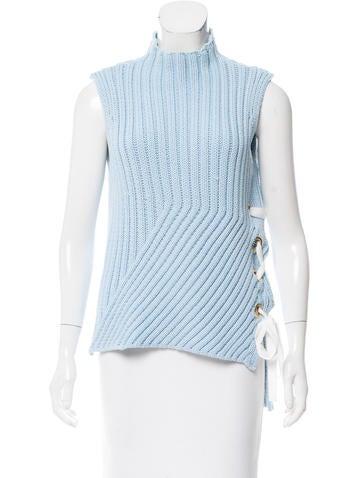 Derek Lam 10 Crosby Sleeveless Knit Rib Sweater None