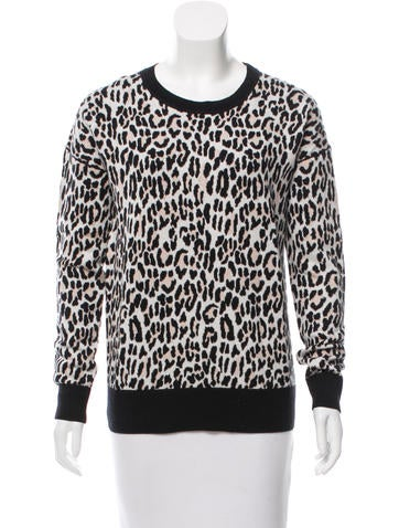 Derek Lam 10 Crosby Leopard Patterned Sweater None