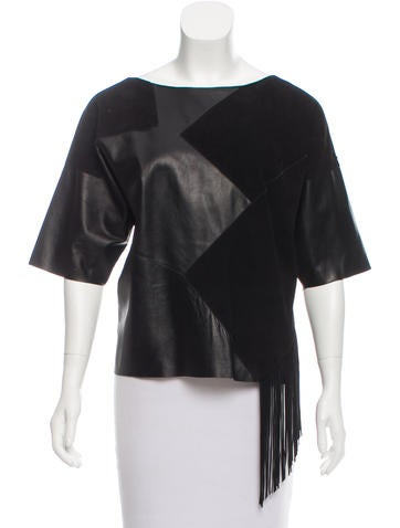 Derek Lam 10 Crosby Leather Fringed Top w/ Tags None