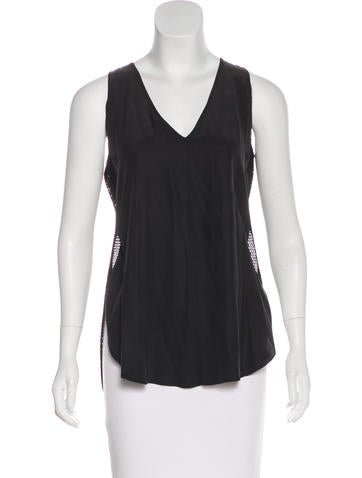 Derek Lam 10 Crosby Silk Mesh-Paneled Top None