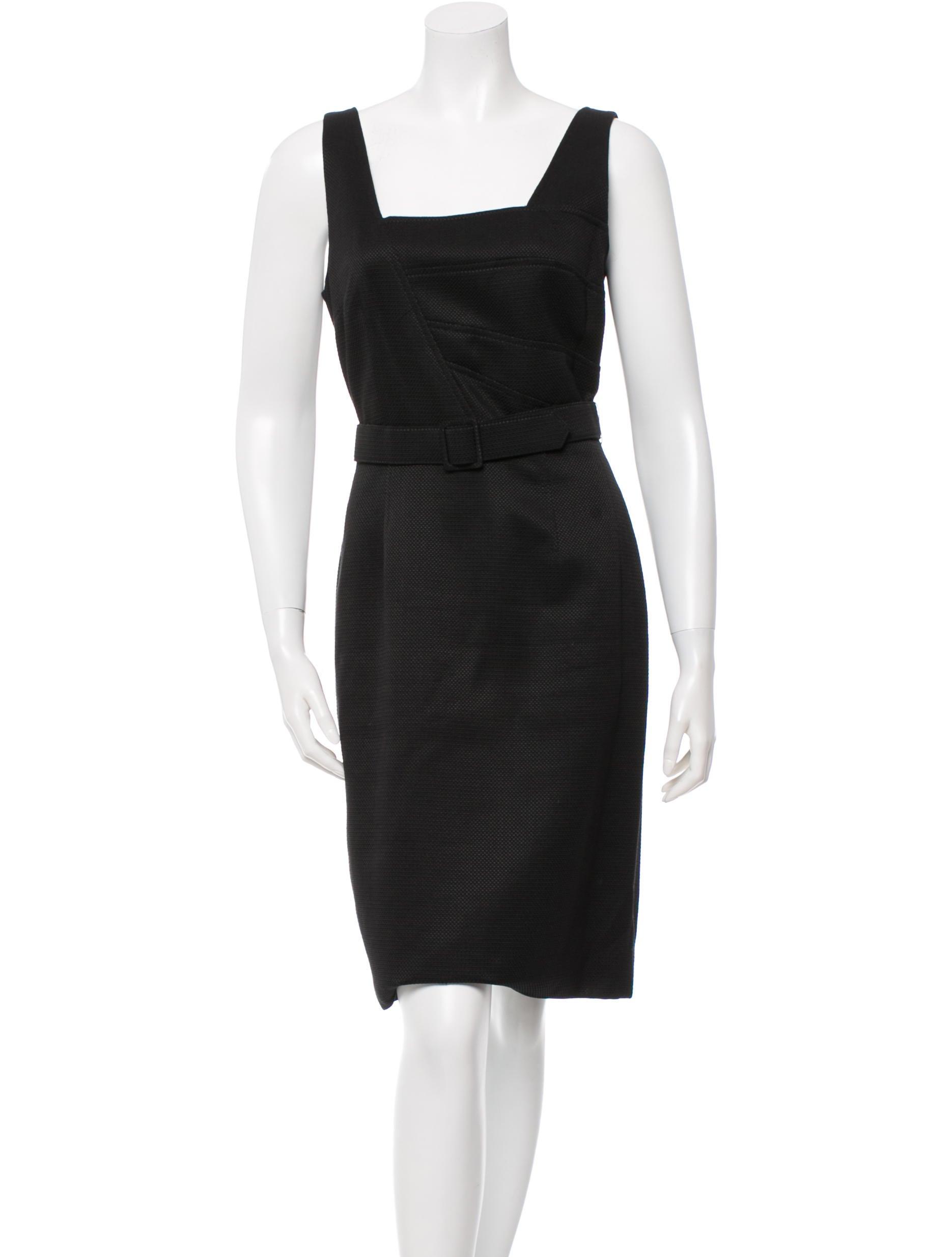 david meister sleeveless belted dress clothing