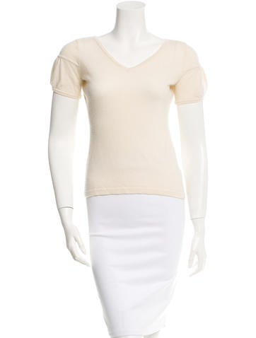 David Meister Cashmere Short Sleeve Top None