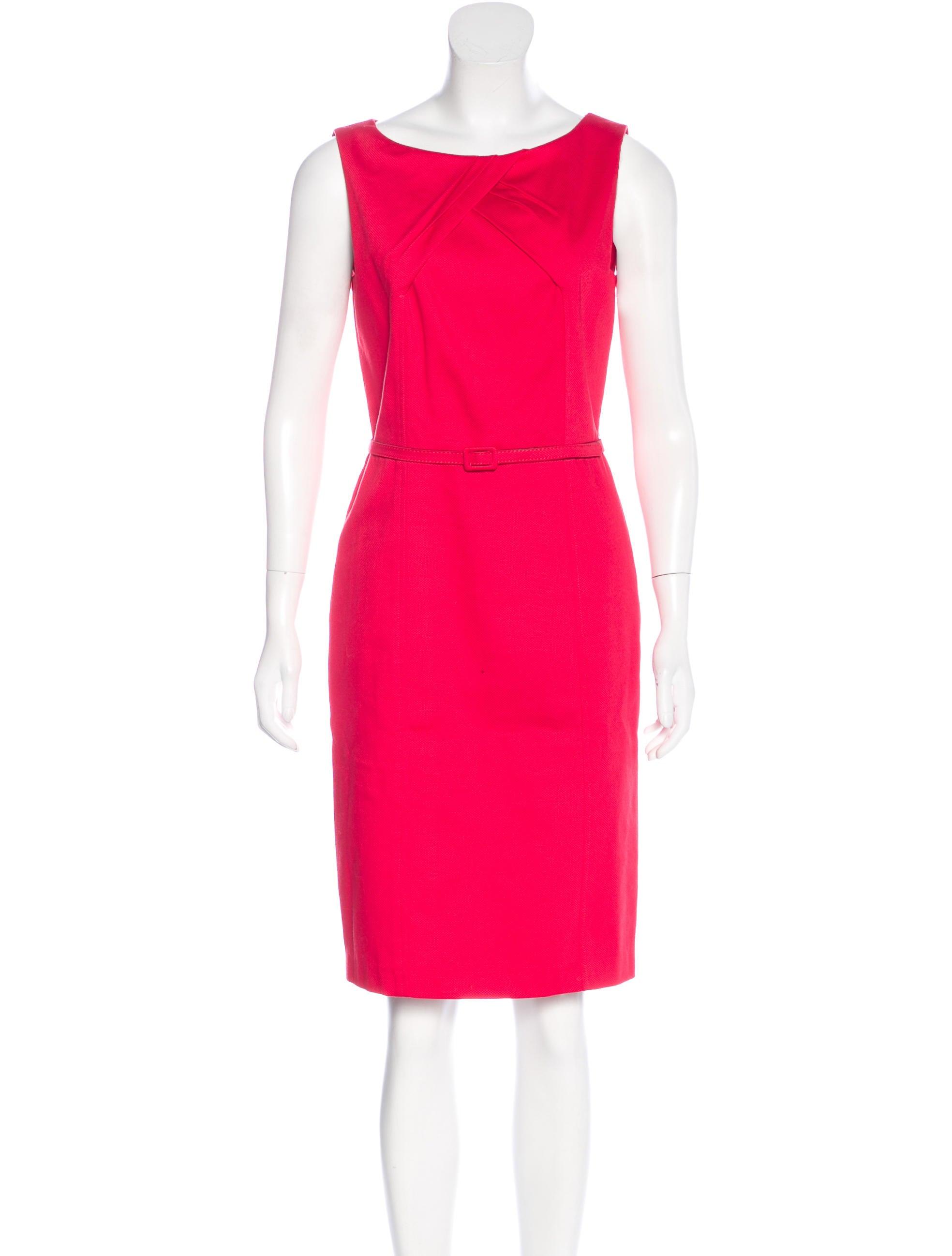 david meister belted sleeveless dress clothing