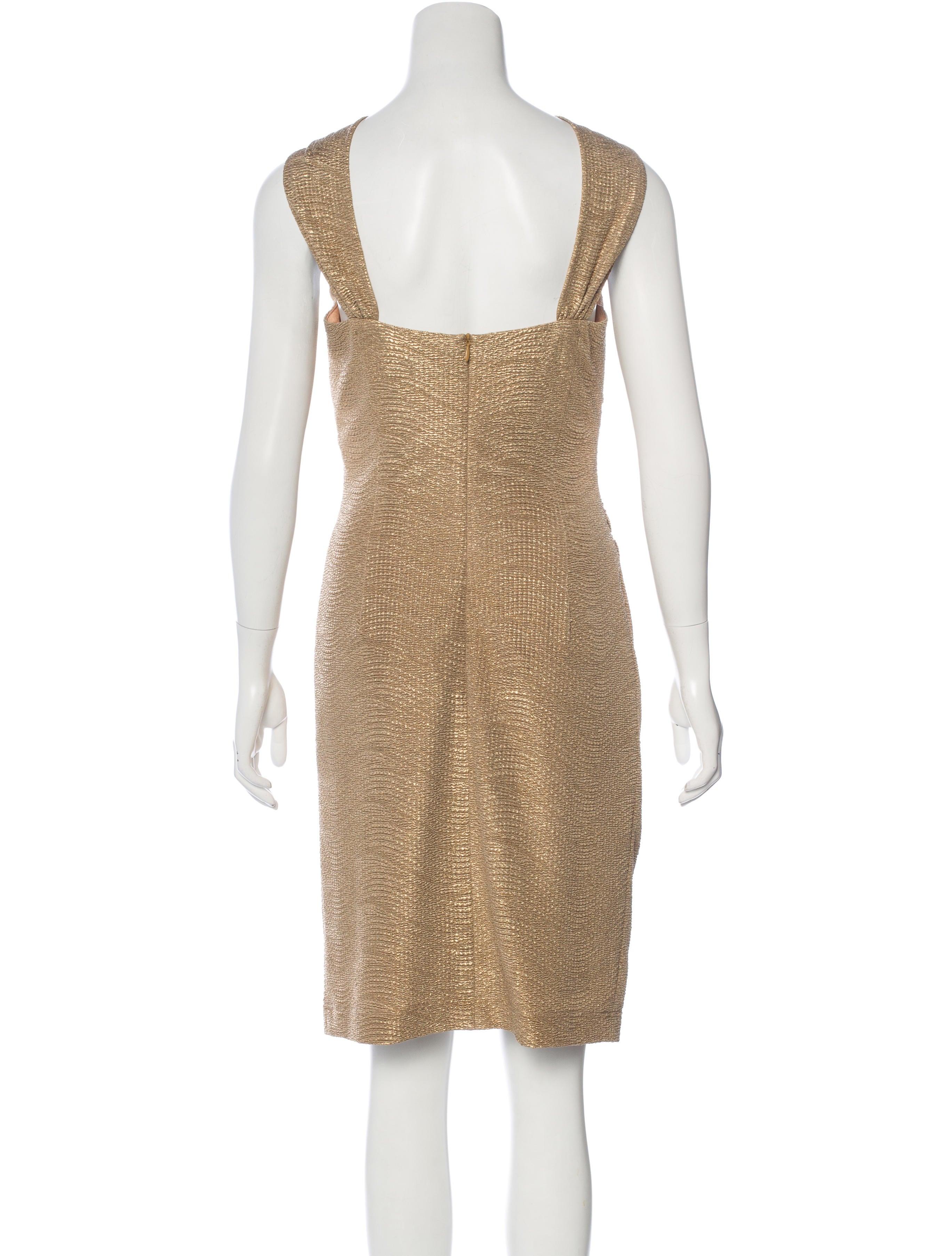 david meister bead embellished metallic dress dresses