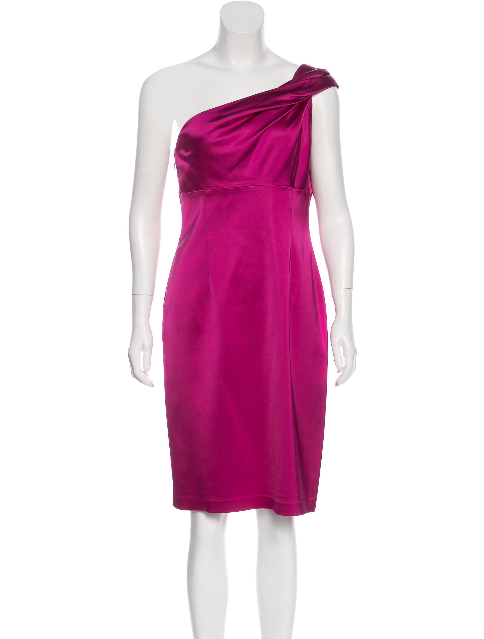 David Meister One-Shoulder Satin Dress - Clothing - WDM25774 | The ...