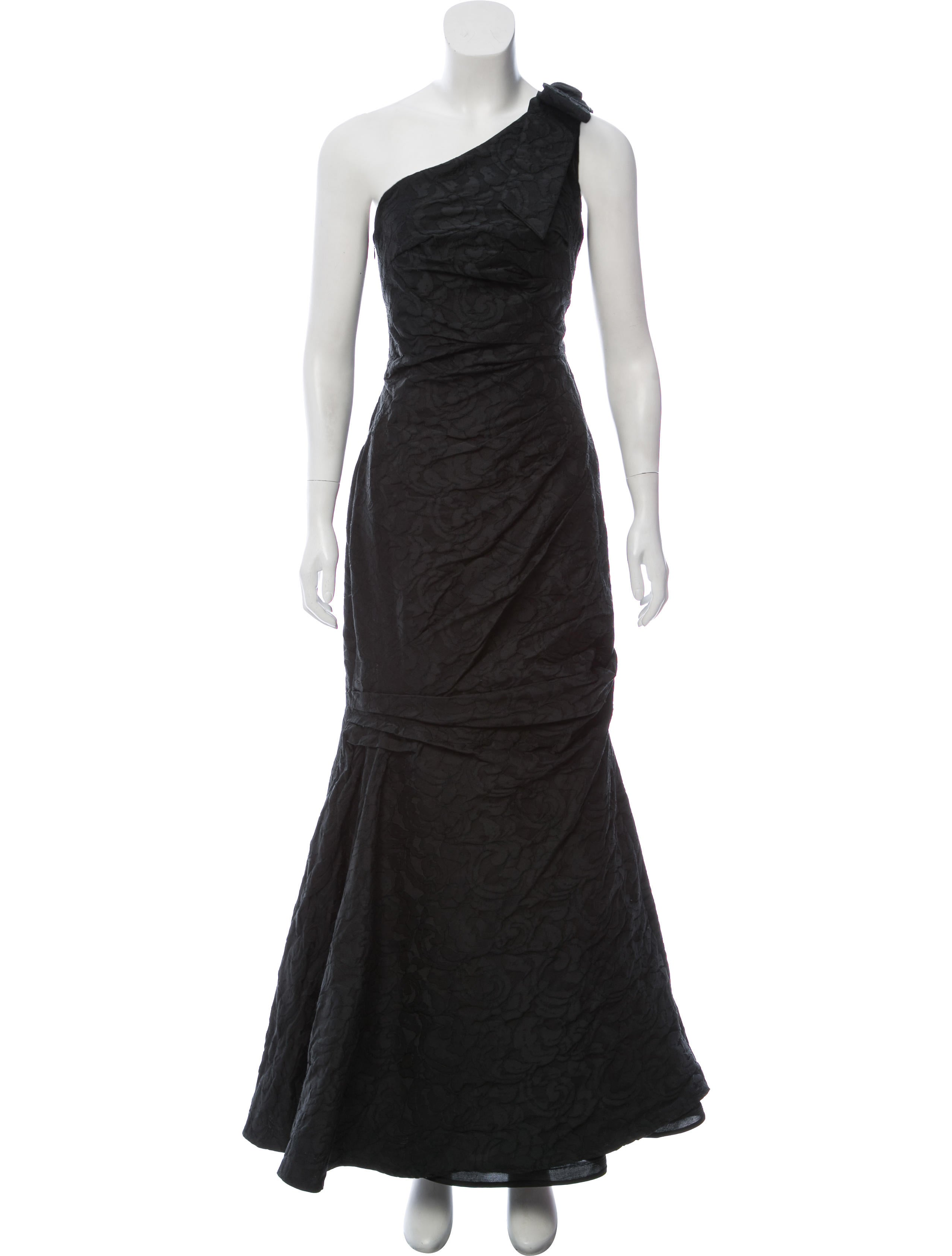 David Meister One-Shoulder Maxi Gown - Clothing - WDM25935 | The ...