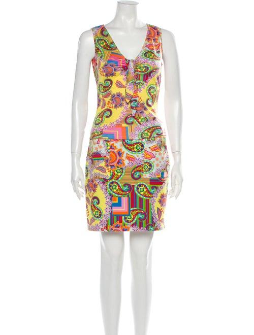 David Meister Silk Paisley Print Skirt Set Yellow