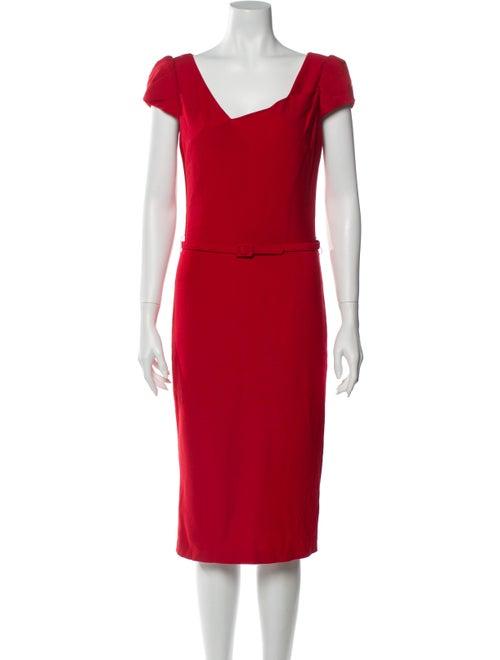 David Meister Asymmetrical Midi Length Dress Red