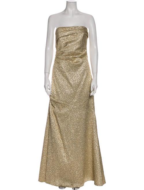 David Meister Strapless Long Dress Gold