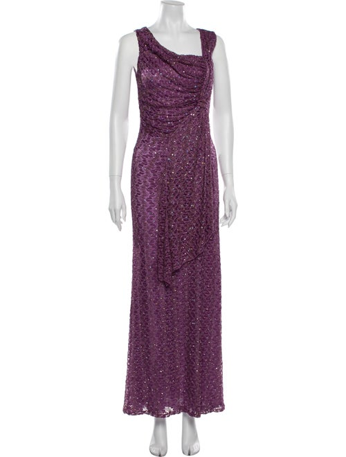 David Meister Asymmetrical Long Dress Purple