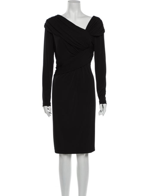 David Meister Asymmetrical Knee-Length Dress Black