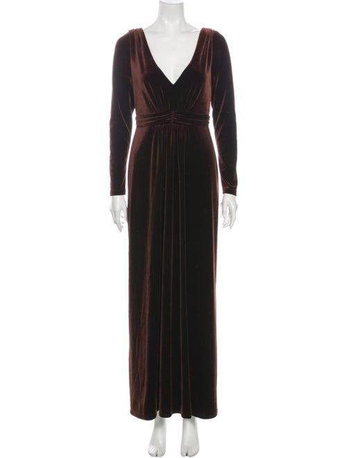 David Meister V-Neck Long Dress Brown