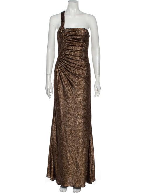 David Meister One-Shoulder Long Dress Brown