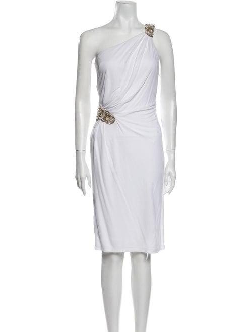 David Meister One-Shoulder Knee-Length Dress White