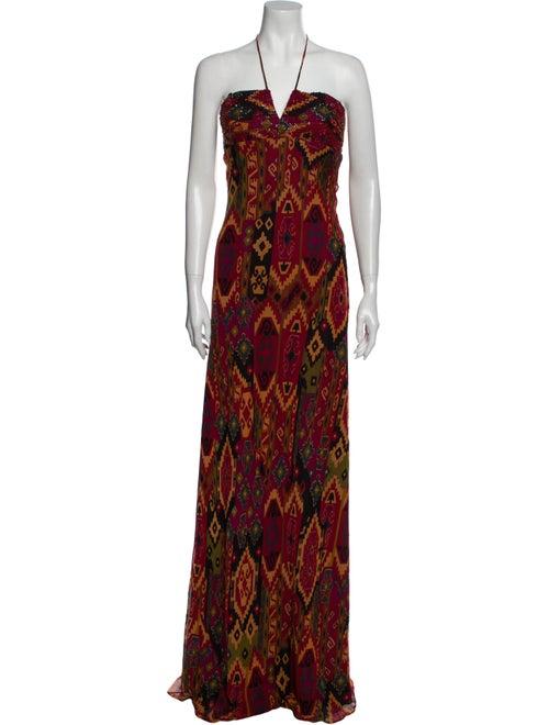 David Meister Silk Long Dress Brown