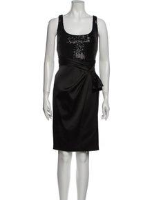 David Meister Square Neckline Knee-Length Dress