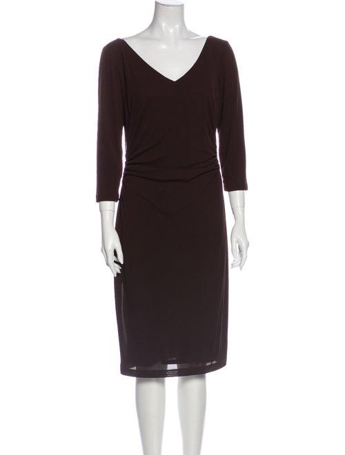 David Meister V-Neck Midi Length Dress Brown - image 1