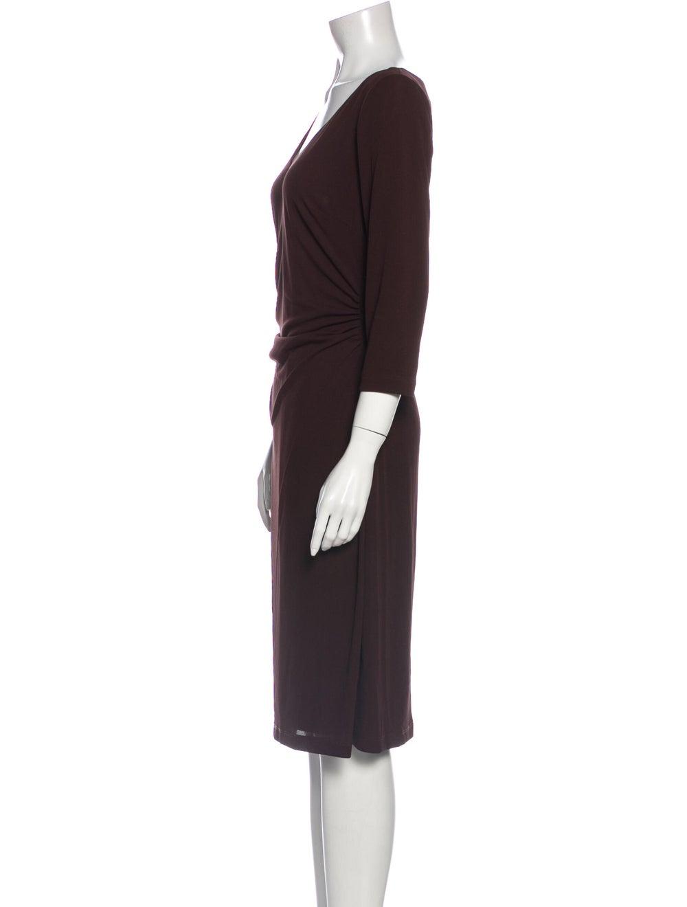 David Meister V-Neck Midi Length Dress Brown - image 2