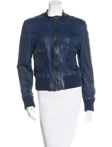 Doma Collarless Leather Jacket None