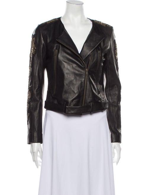 Doma Leather Biker Jacket Black