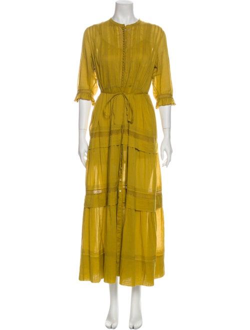 Dôen Crew Neck Long Dress Yellow