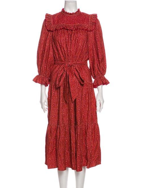 Dôen Printed Midi Length Dress Red