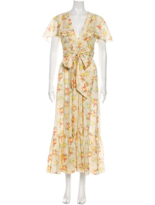 Dôen Floral Print Long Dress Yellow