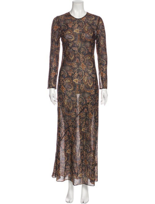 Dôen Paisley Print Long Dress Brown