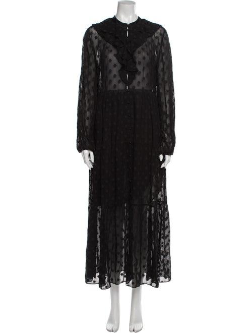 Dôen Lace Pattern Long Dress Black