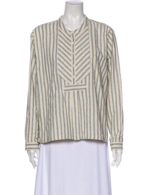 Dôen Silk Striped Button-Up Top